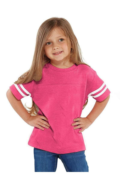 Rabbit Skins Toddler Fine Jersey Varsity Tee, Pink/White *Personalize It
