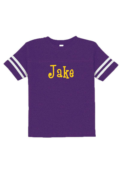 Rabbit Skins Toddler Fine Jersey Football Tee, Purple/White #3037 *Personalize It