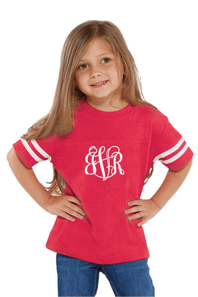 Rabbit Skins Toddler Fine Jersey Football Tee, Red/White #3037 *Personalize It