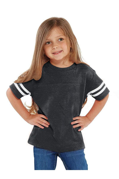 Rabbit Skins Toddler Fine Jersey Varisty Tee, Heather/White *Personalize It