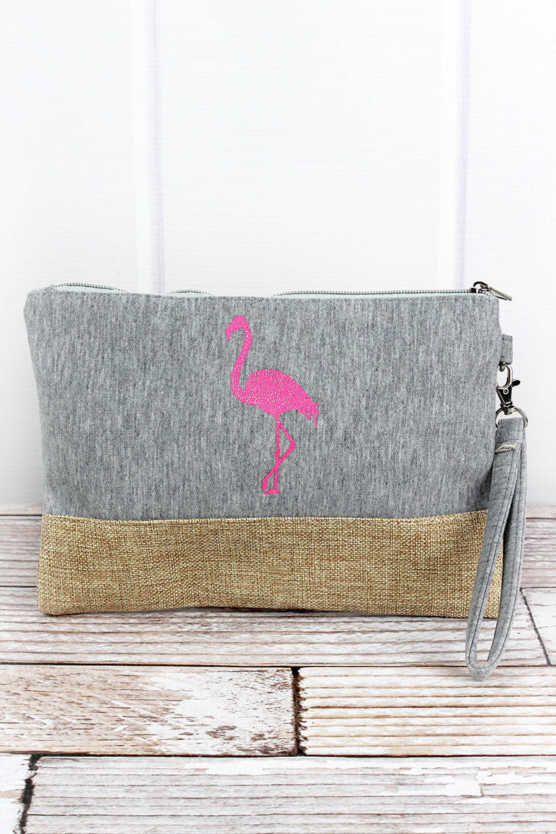 Glitter Flamingo Gray Knit and Burlap Pouch
