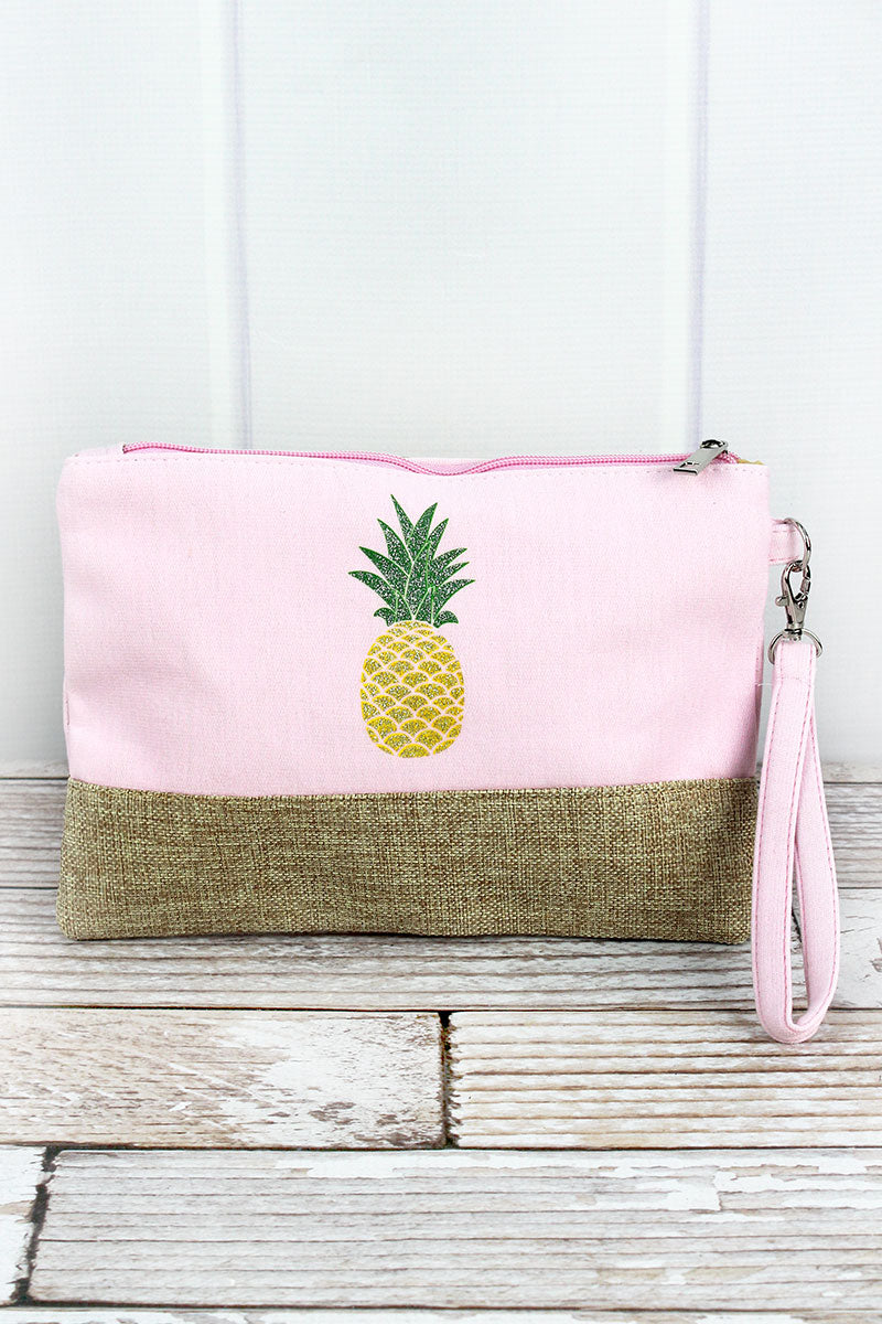 Glitter Pineapple Pink Knit and Burlap Pouch