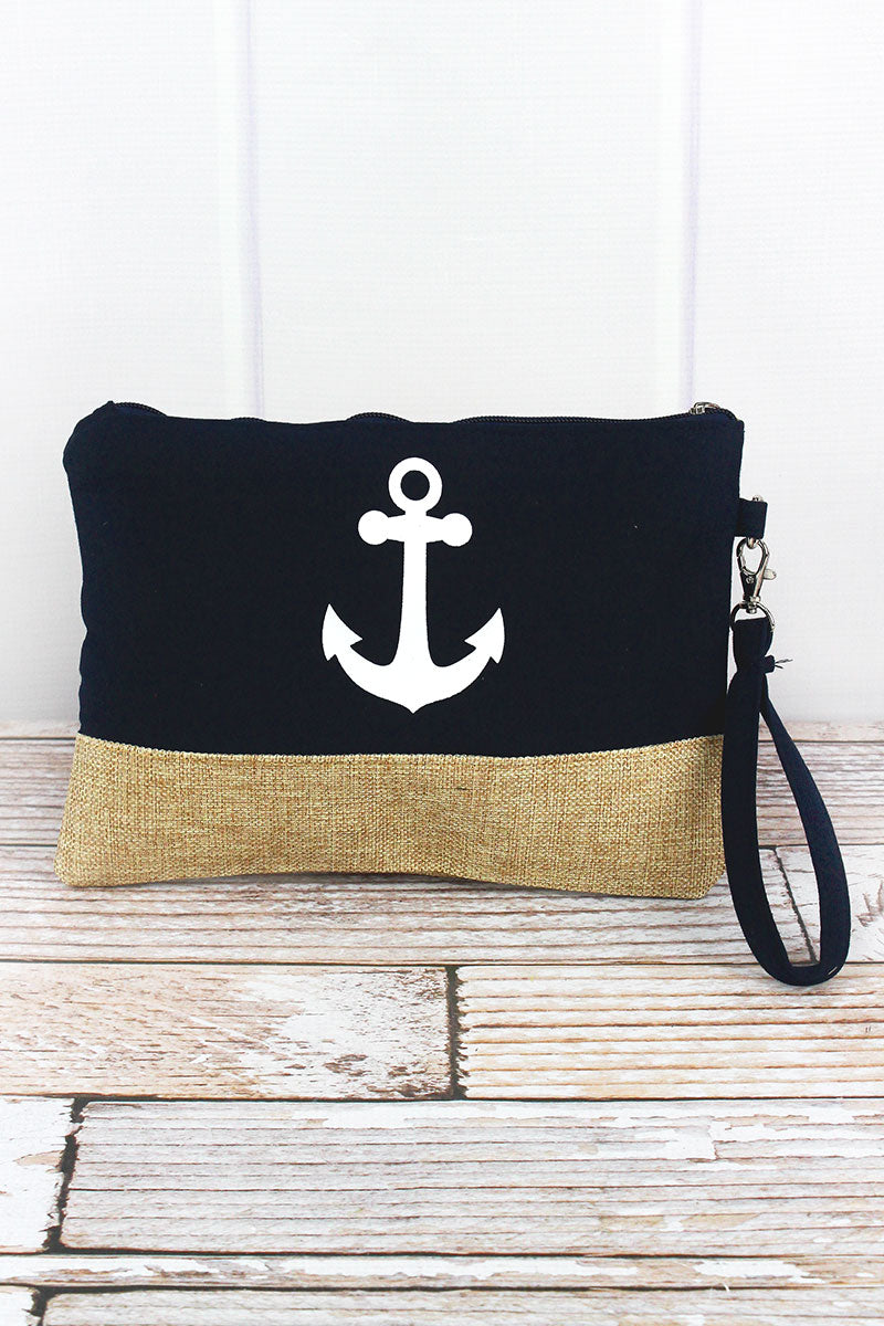 Anchor Navy Knit and Burlap Pouch
