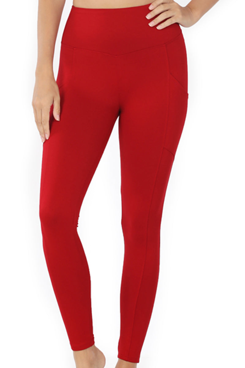 Dark Red Brushed Full Length Butter Leggings