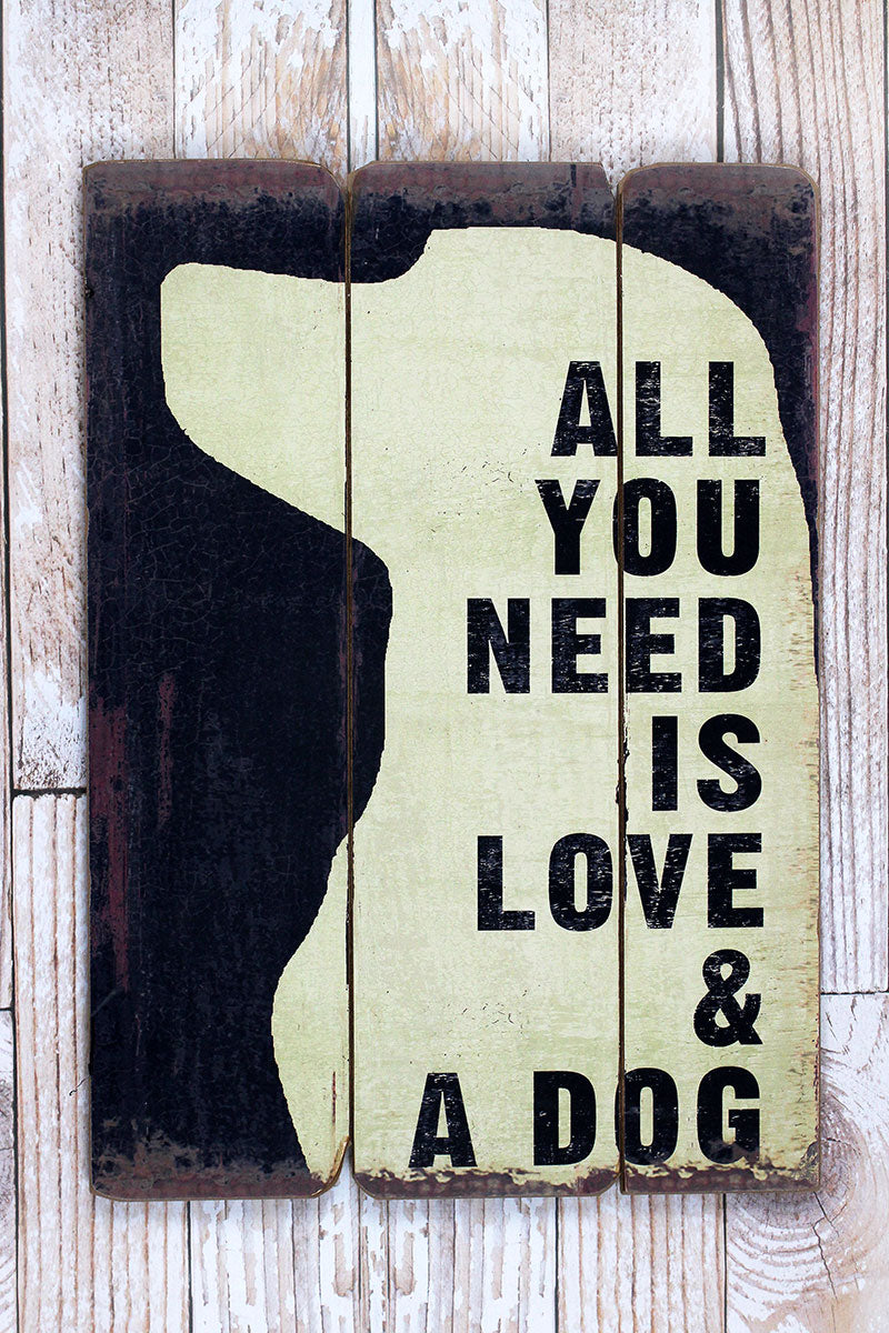 26 x 18.5 'Love & A Dog' Wood Wall Sign