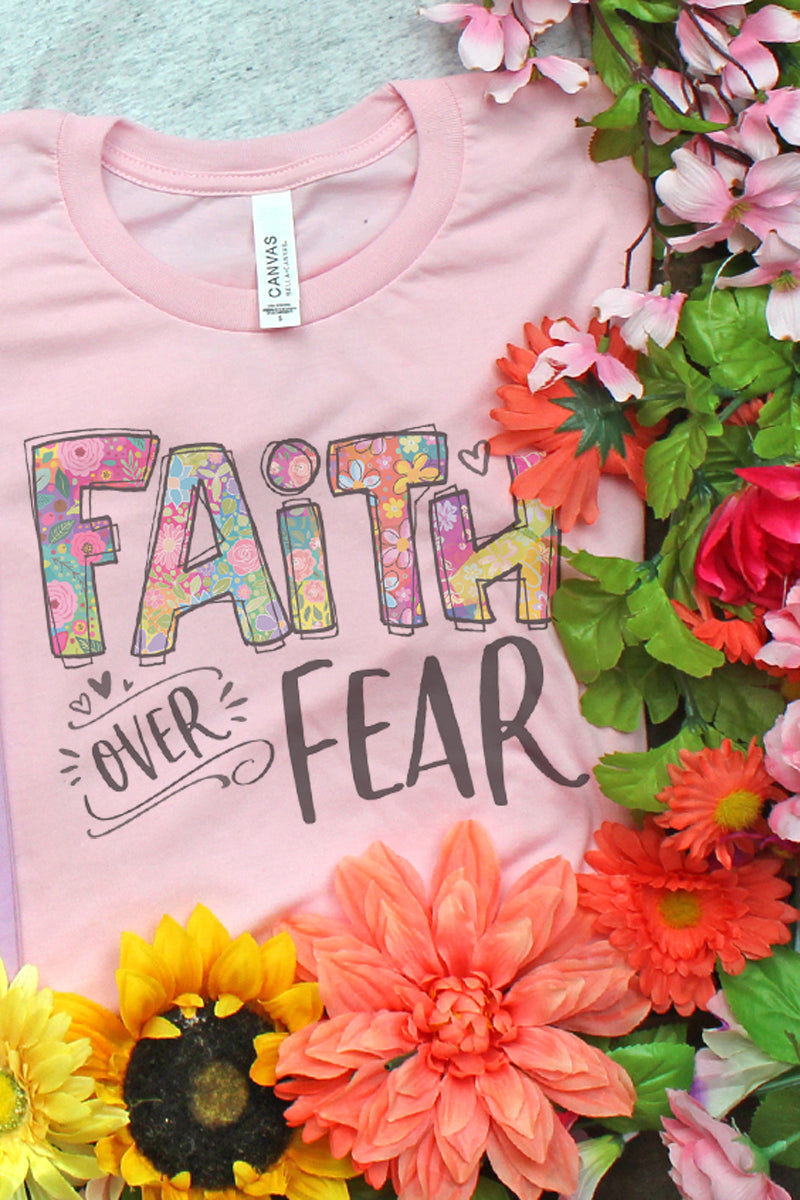 Floral Faith Over Fear Tri-Blend Short Sleeve Tee