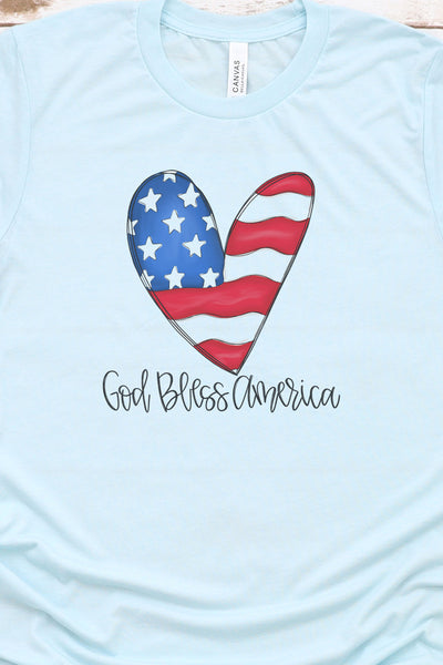 Heart God Bless America Tri-Blend Short Sleeve Tee