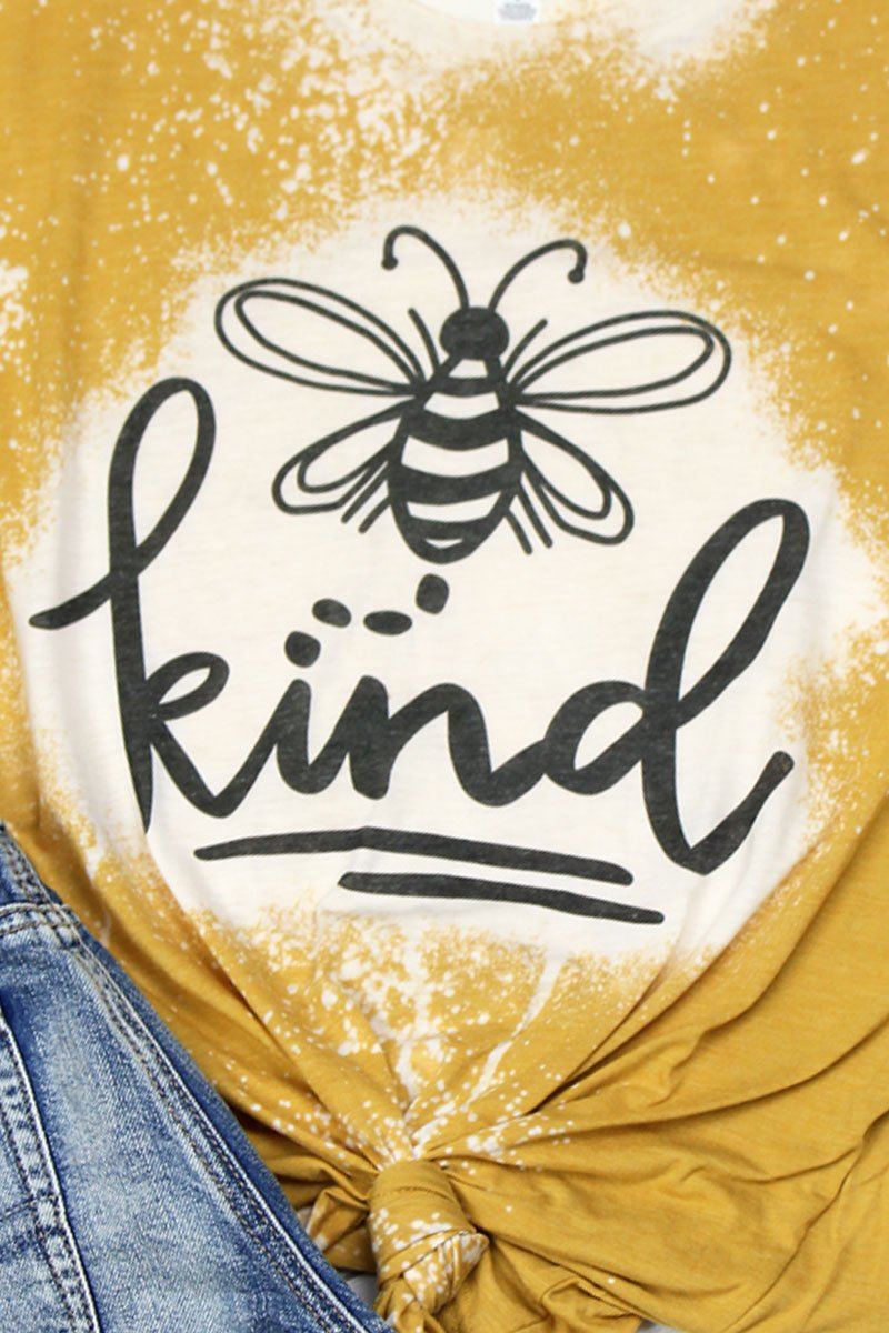 Bleached Bee Kind Tri-Blend Short Sleeve Tee