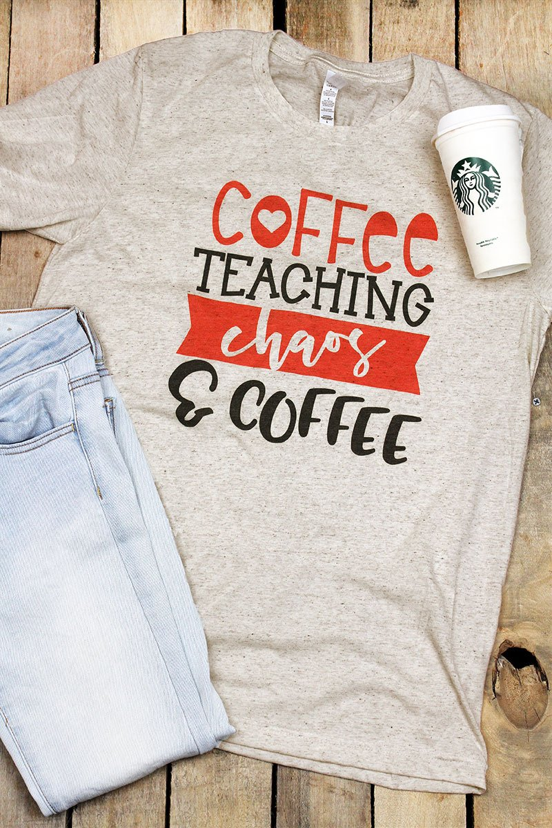 Coffee Teaching Chaos Coffee Tri-Blend Short Sleeve Tee
