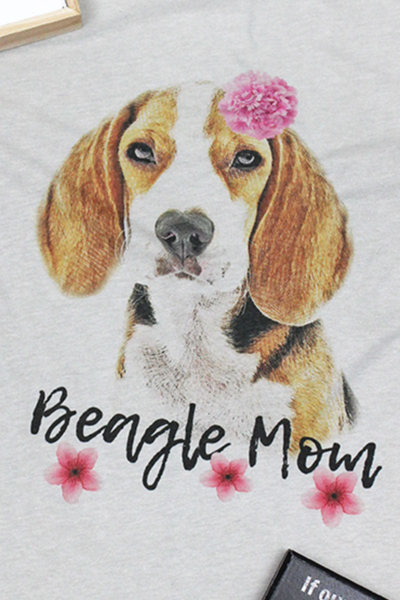 Floral Beagle Mom Tri-Blend Short Sleeve Tee
