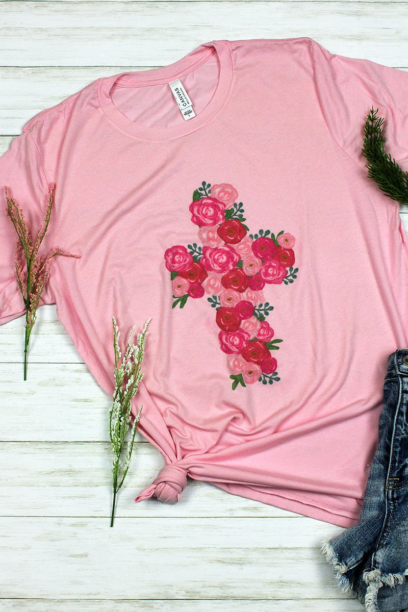 Floral Cross Tri-Blend Short Sleeve Tee