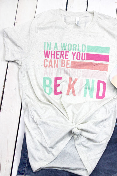 In A World Be Kind Tri-Blend Short Sleeve Tee