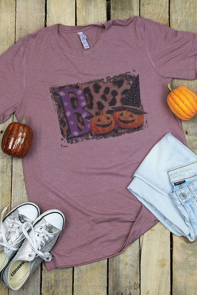 Boo Pumpkin Leopard Tri-Blend Short Sleeve Tee