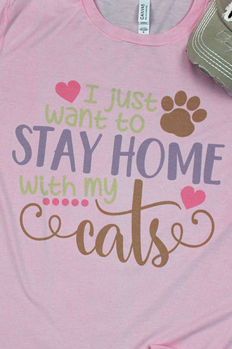 Stay Home Cats Tri-Blend Short Sleeve Tee