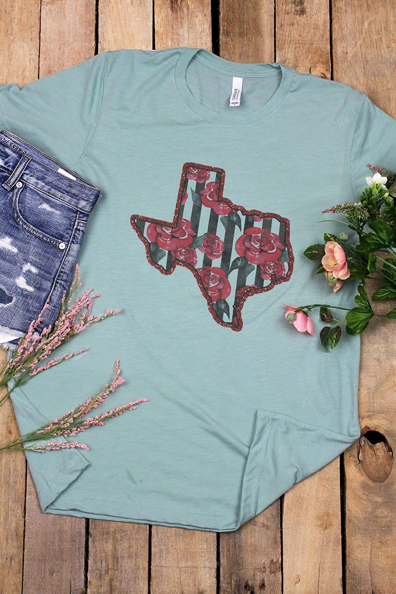 Rose Stripe Texas Tri-Blend Short Sleeve Tee