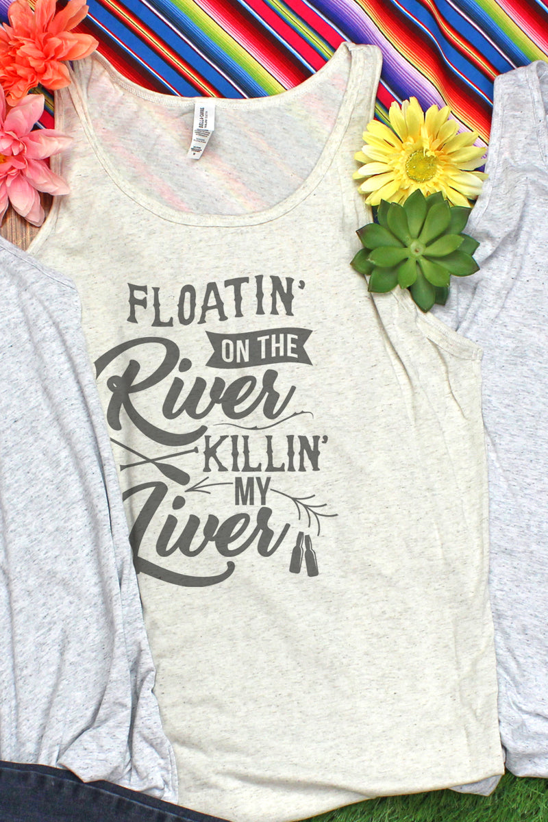 Floatin' On The River Killin' My Liver Unisex Jersey Tank