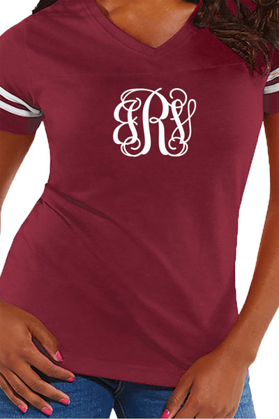L.A.T. Ladies' Fine Jersey Football T-Shirt, Burgundy/White *Personalize It