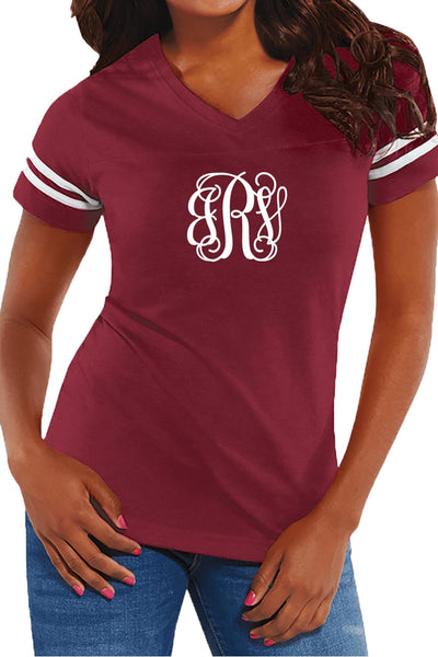 L.A.T. Ladies' Fine Jersey Football T-Shirt, Burgundy/White #3537 *Personalize It