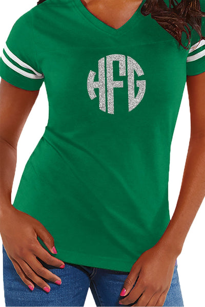L.A.T. Ladies' Fine Jersey Football T-Shirt, Green/White *Personalize It