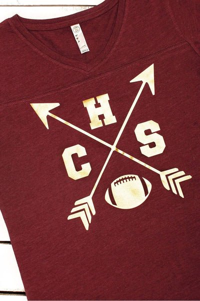 School Initials & Arrow Ladies' Fine Jersey Football T-Shirt #3537 *Personalize It (Wholesale Pricing N/A)