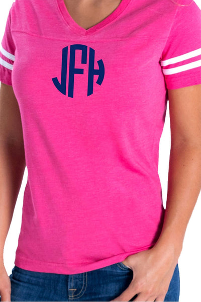 L.A.T. Ladies' Fine Jersey Football T-Shirt, Hot Pink/White *Personalize It