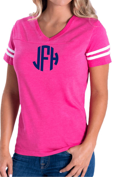 L.A.T. Ladies' Fine Jersey Football T-Shirt, Hot Pink/White #3537 *Personalize It
