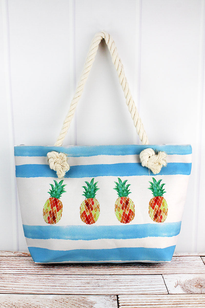 Pineapple Blue Cabana Striped Beach Tote