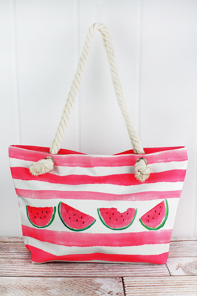 Watermelon Pink Cabana Striped Beach Tote