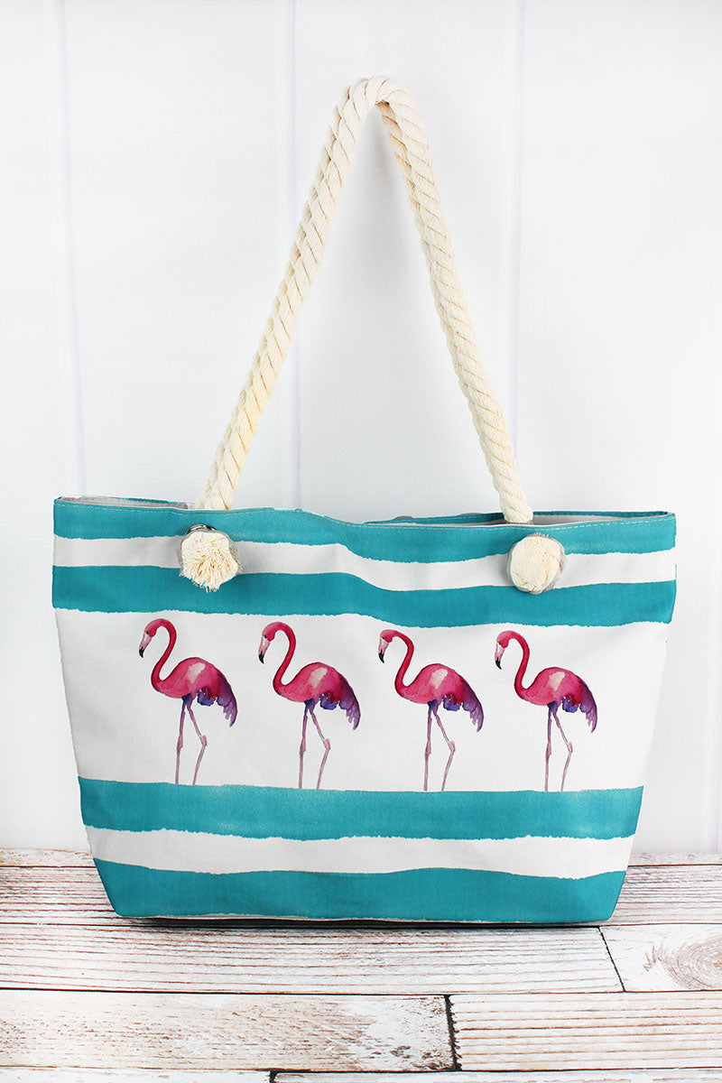 Flamingo Aqua Cabana Striped Beach Tote