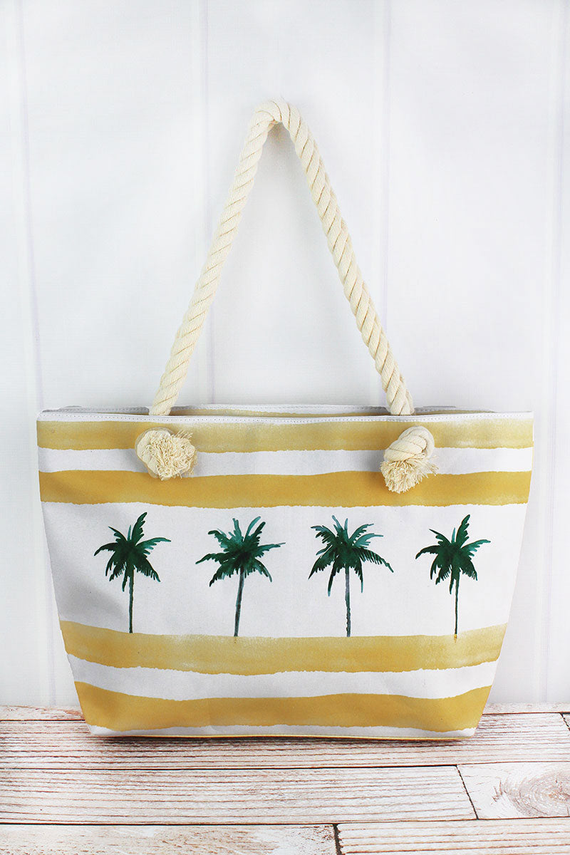 Palm Tree Yellow Cabana Striped Beach Tote