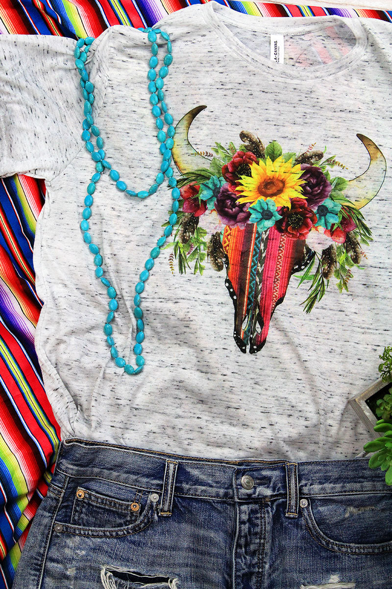 Serape Sunflower Steer Unisex Short Sleeve Tee