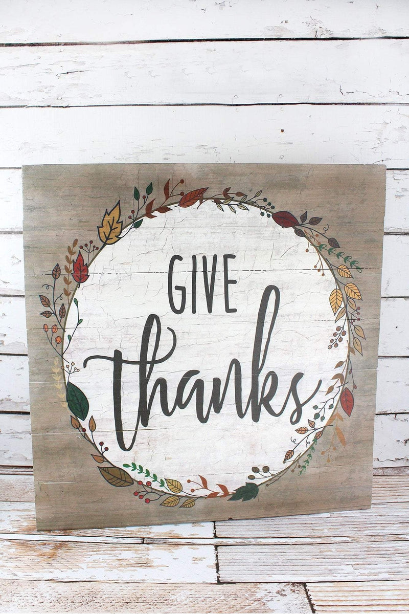 24.75 x 24 'Give Thanks' Wood Wall Sign