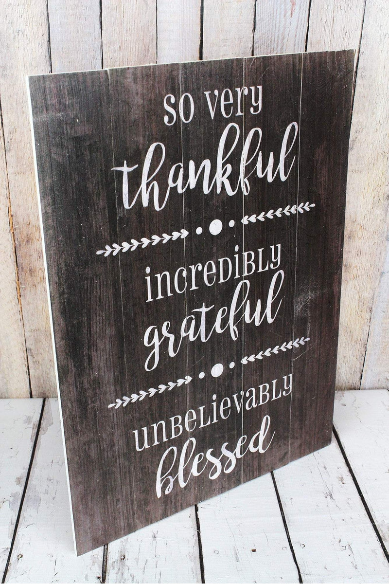 24 x 17.75 'Thankful Grateful Blessed' Wood Wall Sign