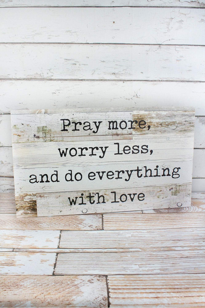 14 x 24 'Pray More' Wood Wall Sign
