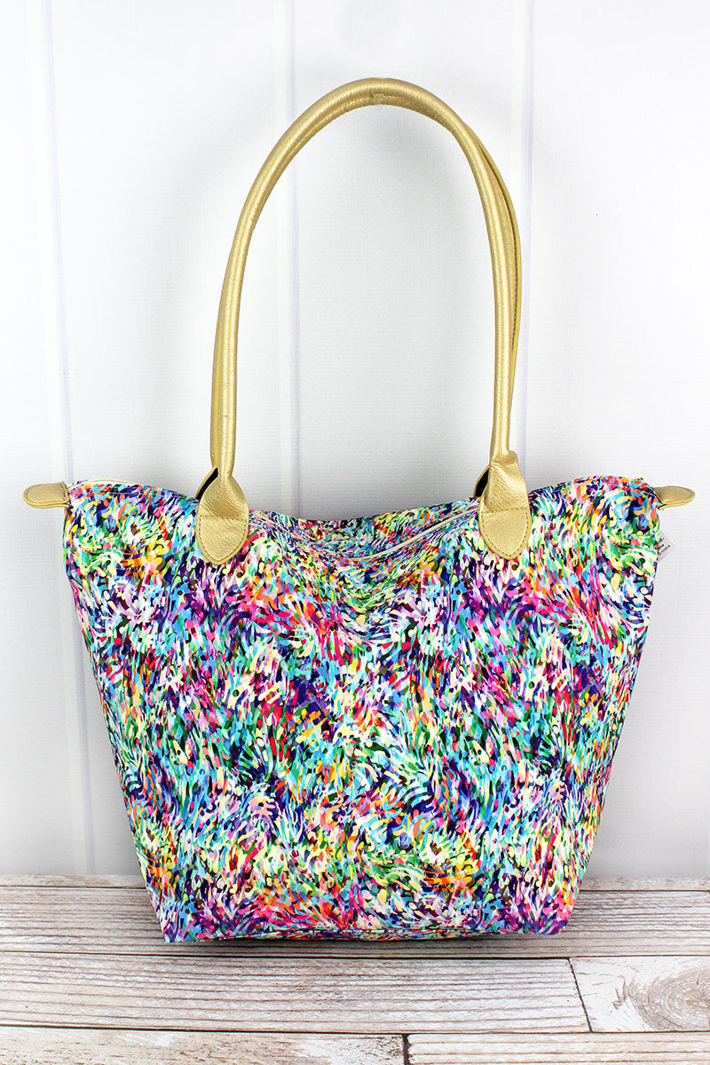 Color Splash Shoulder Tote with Gold Handles