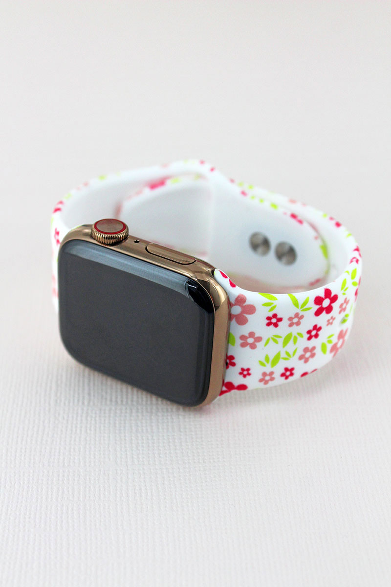 Spring Flowers White Adjustable Band for Apple Watch