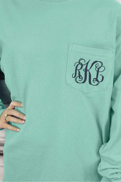 Shades of Green/Yellow Comfort Colors Long Sleeve Pocket Tee *Personalize It