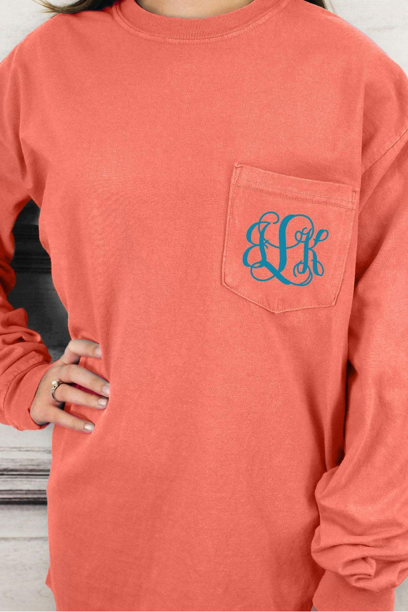 2ca91f8d3 Shades of Red/Orange Comfort Colors Long Sleeve Pocket Tee #4410    Wholesale Accessory Market