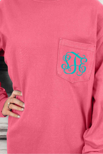 Shades of Pink/Purple Comfort Colors Long Sleeve Pocket Tee *Personalize It