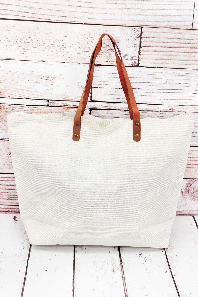 White Shimmer Scallop Tote Bag
