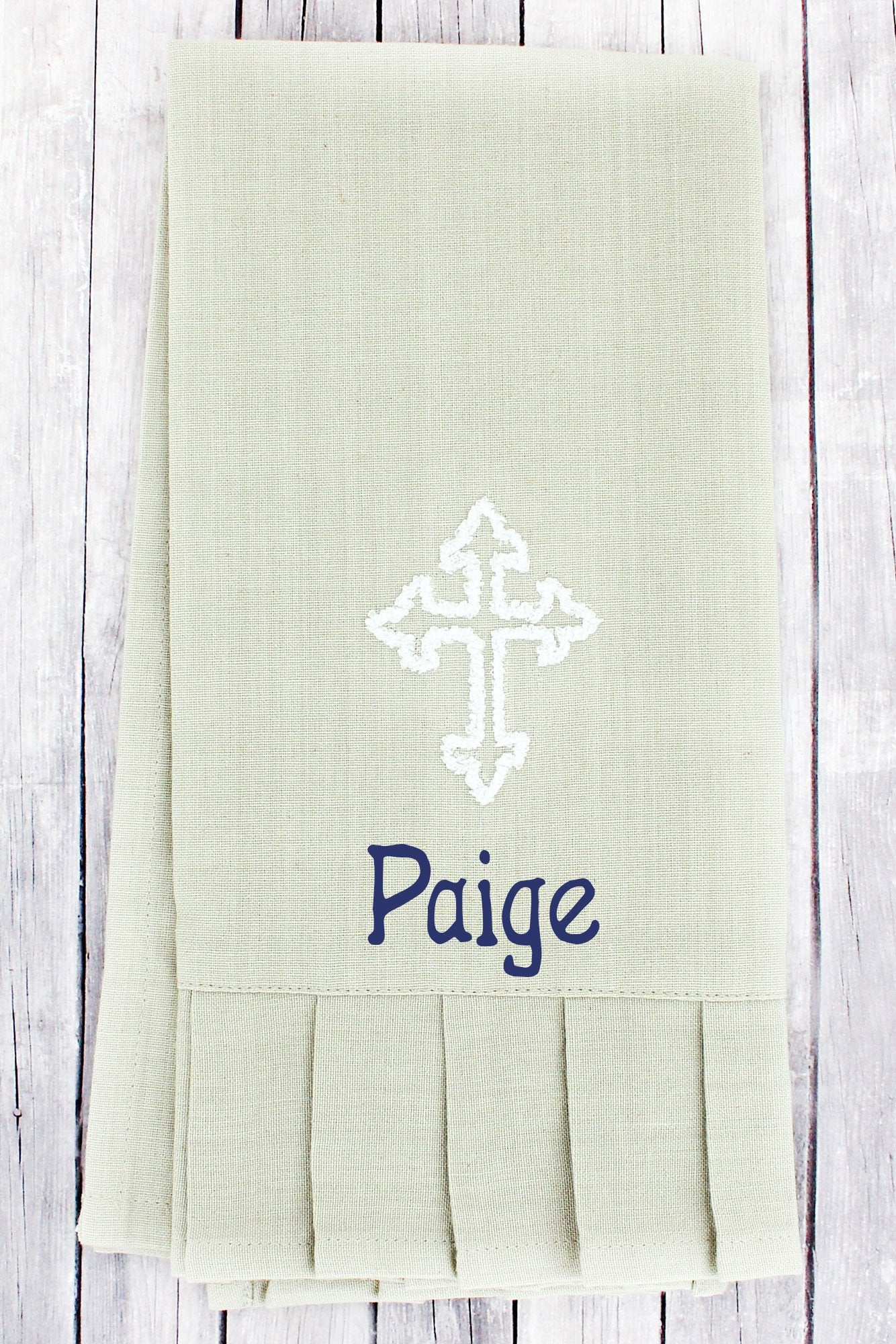 SALE! Oat with White Cross Ruffled Hand Towel