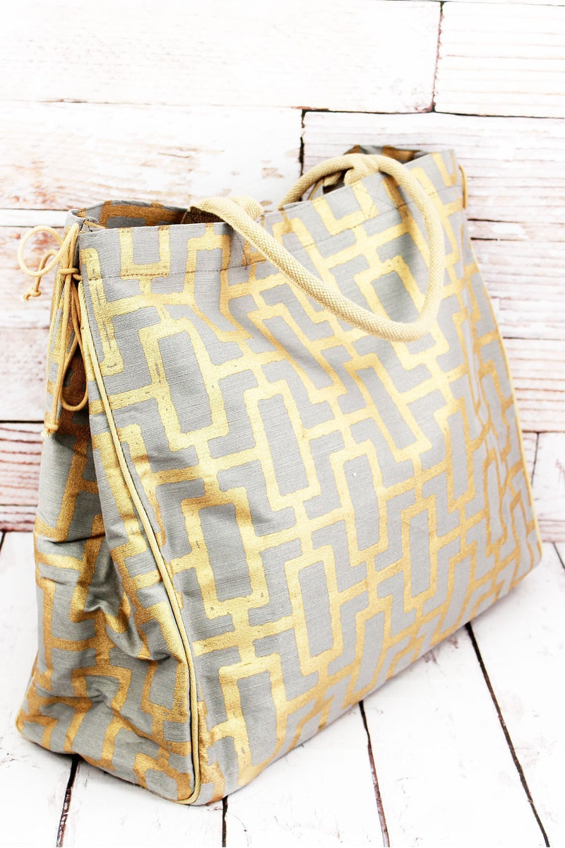 Gray and Gold Sutton Glamour Large Jute Shopper