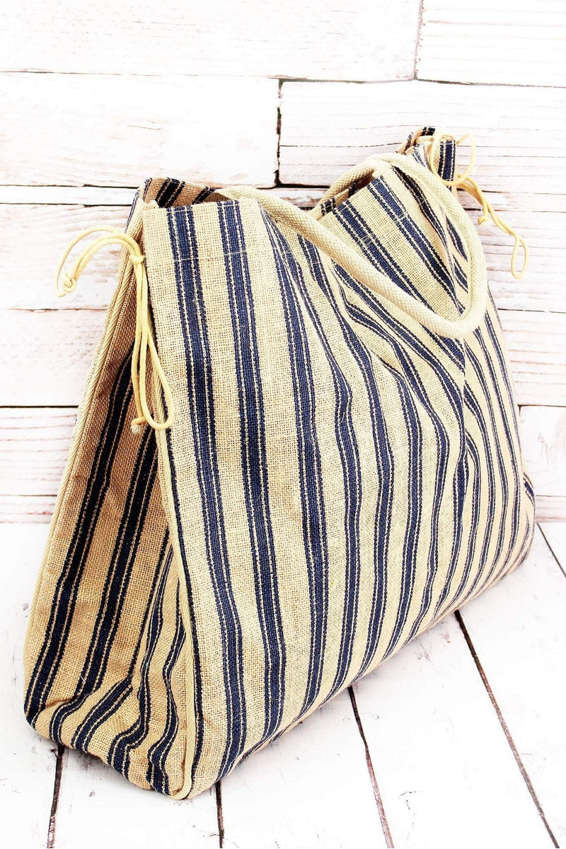Natural and Navy Ticking Stripe Large Jute Shopper