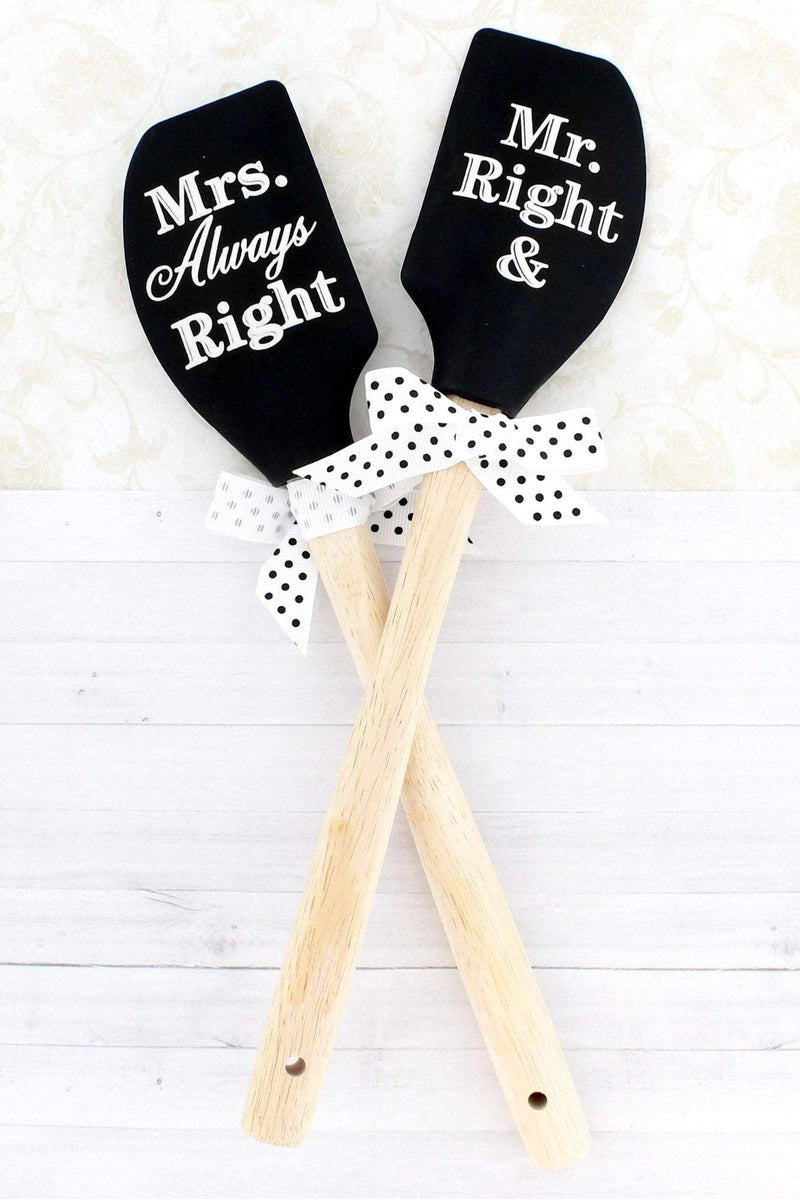 One 'Mr. Right & Mrs. Always Right' Black Silicone Spatula #46758 - Wholesale Accessory Market
