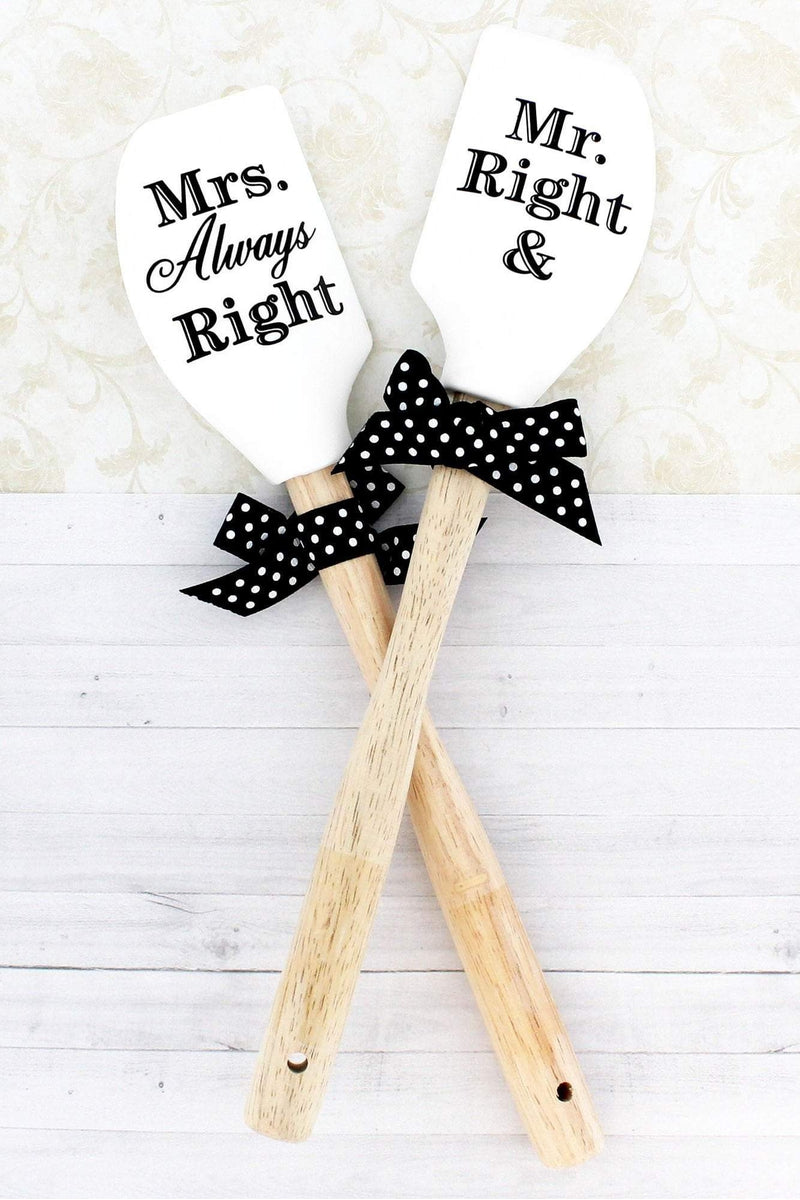 One 'Mr. Right & Mrs. Always Right' White Silicone Spatula #46765 - Wholesale Accessory Market