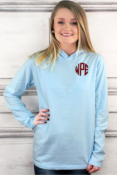 Shades of Blue Comfort Colors Long Sleeve Hooded Tee #4900 *Personalize It