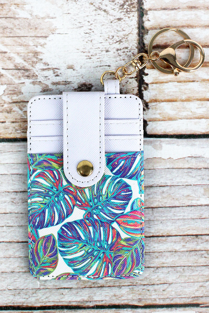 Tropical Palms Faux Leather Credit Card Holder Keychain