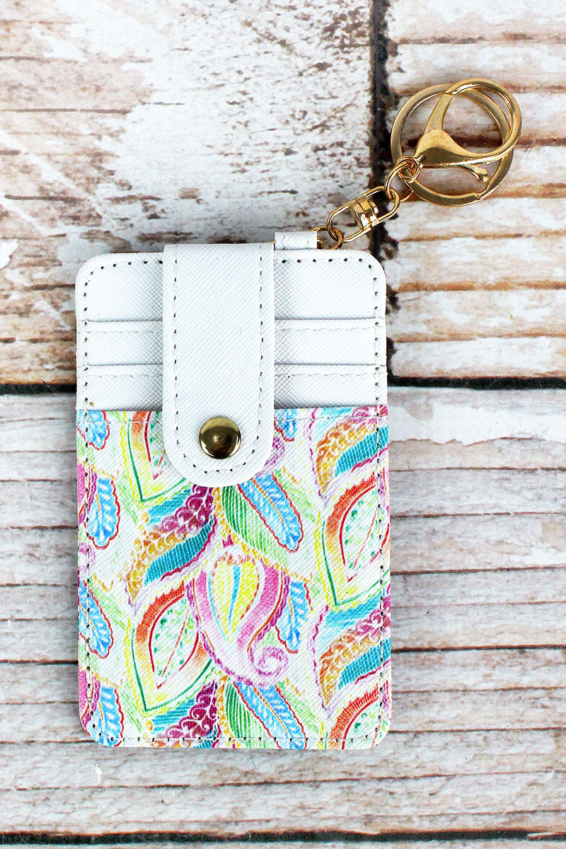 Pastel Paisley Faux Leather Credit Card Holder Keychain