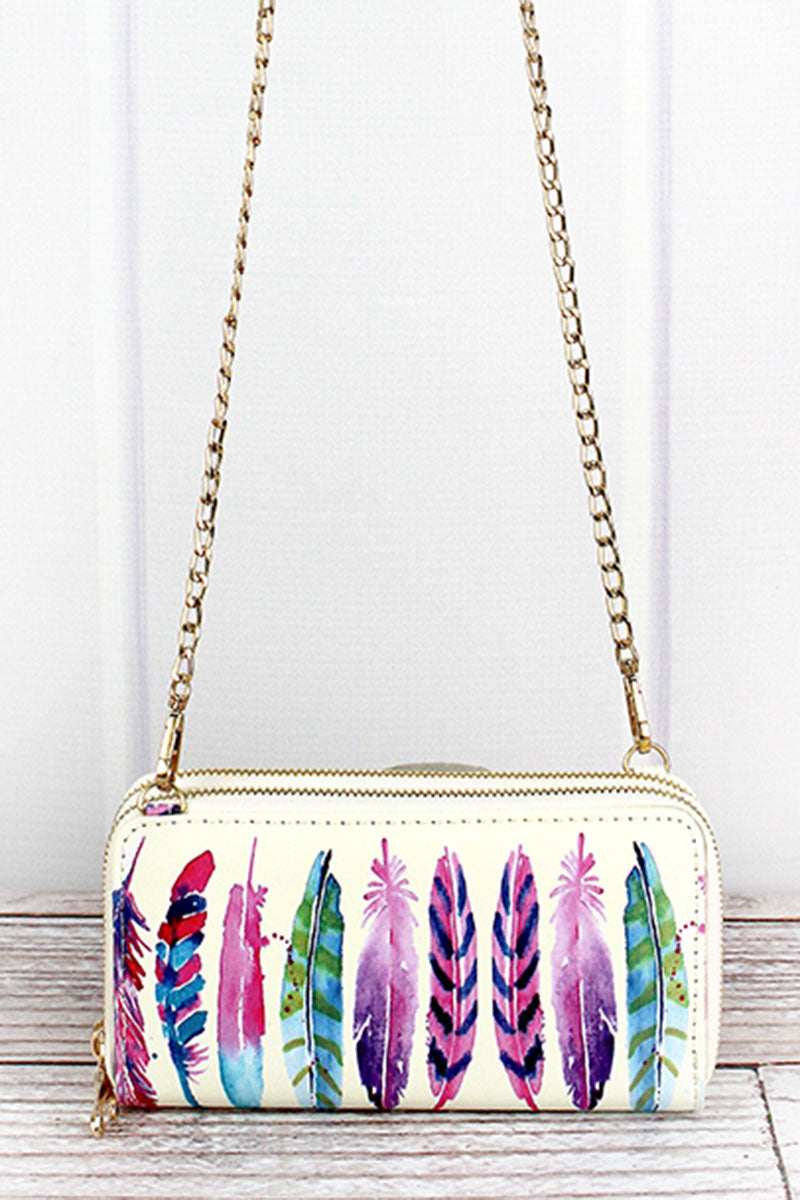 Feathers Faux Leather Organizer Clutch Wallet
