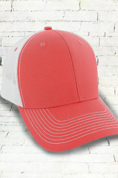 Fizz and White Contrast Mesh Trucker Cap #50004 (PLEASE ALLOW 3-5 BUSINESS DAYS. EXPEDITED SHIPPING N/A)